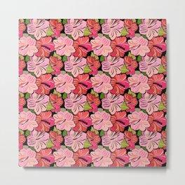 Pink Hibiscus Floral Pattern Metal Print
