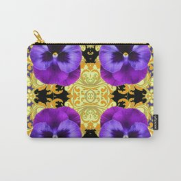 PURPLE PANSIES ON BLACK & GOLD BROCADE GARDEN Carry-All Pouch