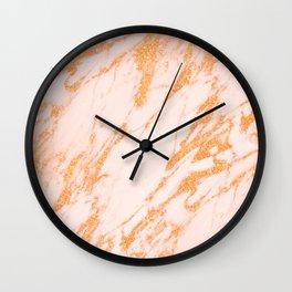Gold Marble - Intense Rose Gold Glitter Metallic Marble Wall Clock
