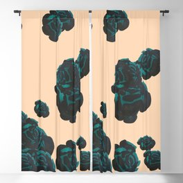 Green and Black Roses on Peach, Greenery Blackout Curtain