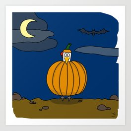 Eglantine la poule (the hen) dressed up as a pumpkin Art Print