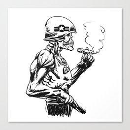 Military zombie - Skull military - zombie illustration Canvas Print