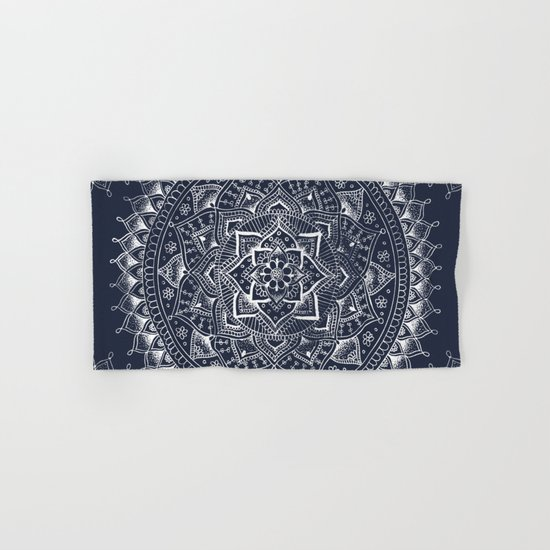 White Flower Mandala on Dark Blue Hand & Bath Towel