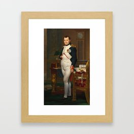 Jacques Louis David - The Emperor Napoleon in his study at the Tuileries Framed Art Print