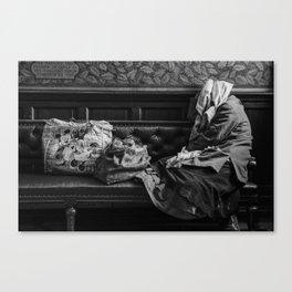 Bag lady in Edinburgh Portrait Gallery Canvas Print