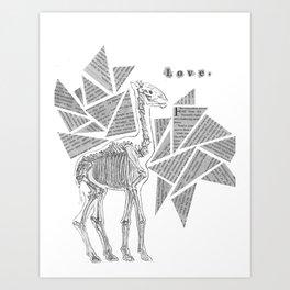 Skeletal Giraffe Art Print