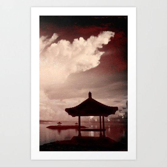 Bali tryptych - phone -red  temple  Art Print