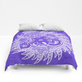 Ganesha Lineart Lilac White Comforters