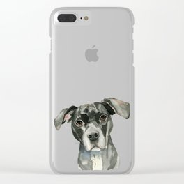 Black Pit Bull Dog Watercolor Portrait Clear iPhone Case