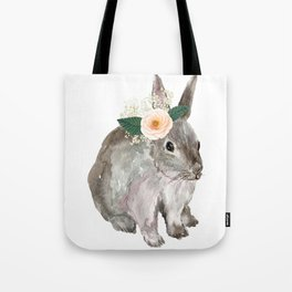 bunny with flower crown Tote Bag