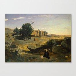 "Jean-Baptiste-Camille Corot ""Hagar in the wildeness"" Canvas Print"