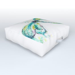 Watercolor Dragonfly Outdoor Floor Cushion