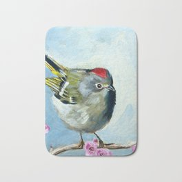 Ruby Crowned Kinglet Bath Mat