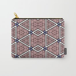 Mauve Rose Triangle Diamond Pattern Carry-All Pouch