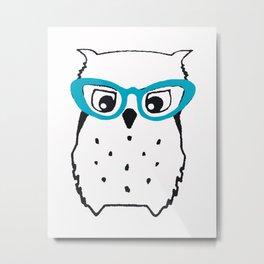 Cute Owl Glasses Metal Print