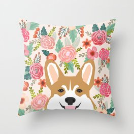 Welsh Corgi cute flowers spring summer garden dog portrait cute corgi puppy funny god illustrations Throw Pillow