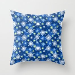 Christmas pattern. Lacy snowflakes on a blue background. Throw Pillow
