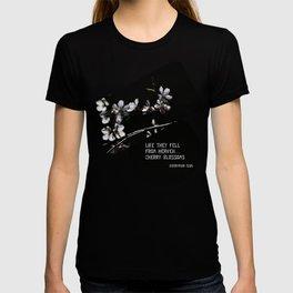 Sakura flowers on black 02 T-shirt