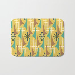 Mid Century Modern Atomic Wing Composition 55 Yellow Brown and Teal Bath Mat