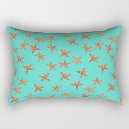 Aqua Starfish Hand-Painted Watercolor Rectangular Pillow
