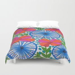 Flowers and Pinwheels Jungle Print Duvet Cover