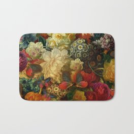 """Baroque Spring of Flowers and Butterflies"" Bath Mat"