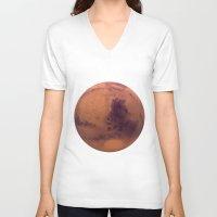mars V-neck T-shirts featuring Mars by Tobias Bowman