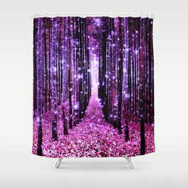 Magical Forest Pink & Purple Shower Curtain
