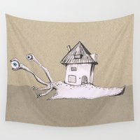 snail Wall Tapestries featuring Snail by Bwiselizzy