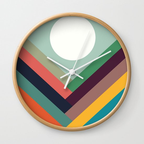 Rows of valleys Wall Clock