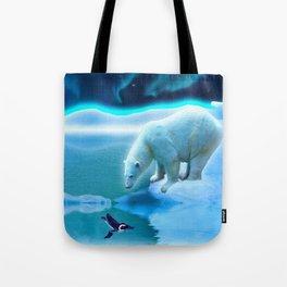 The Encounter - A Polar Bear & Penguin Fantasy Tote Bag