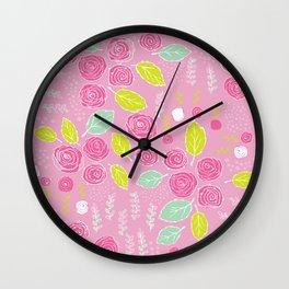 Belle Fleurs - bright roses Wall Clock