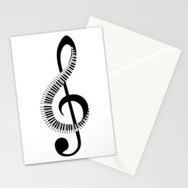 Treble clef sign with piano keyboard Stationery Cards