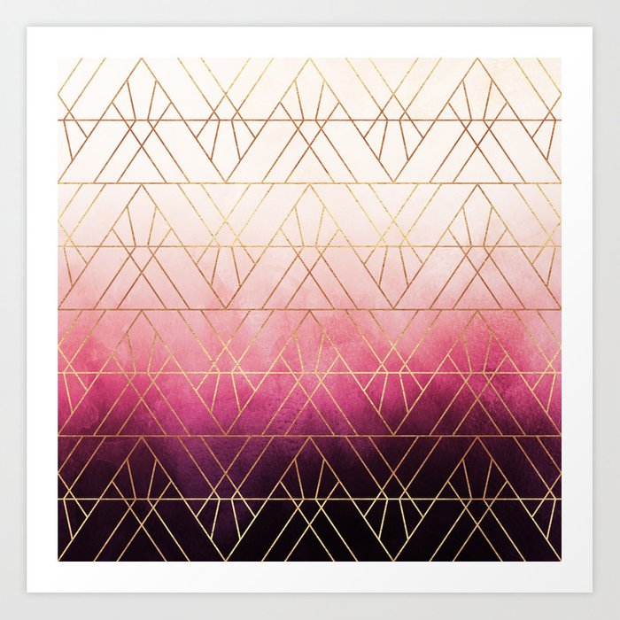 Pink Ombre Triangles Art Print