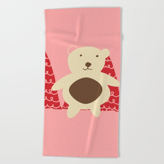 Christmas polar bear pink Beach Towel