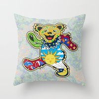 grateful dead Throw Pillows featuring Grateful Dead (Vector Art) by Troy Arthur Graphics
