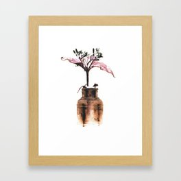 Ink well with flower Framed Art Print
