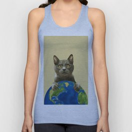 Grey cat looking over world globe Unisex Tank Top