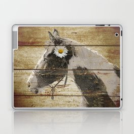Daisy Flower on Rustic Brown Cream Horse Country Barn Art A166 Laptop & iPad Skin