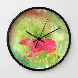 Bear  with flowers - Animal watercolor illustration on #Society6 Wall Clock