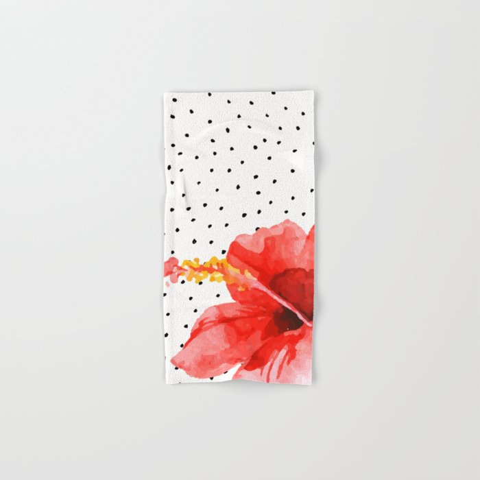 Tropical flower on dots Hand & Bath Towel
