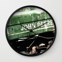 john green Wall Clocks featuring John Deere by Captive Images Photography