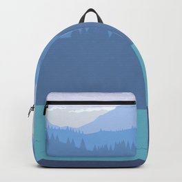 Kayak, forest and mountains Backpack