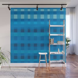 Blue  Plaid Pattern Wall Mural