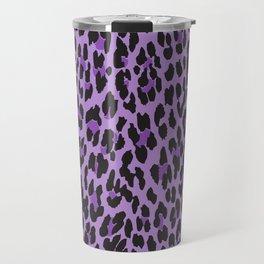 Animal Print, Spotted Leopard - Purple Black Travel Mug