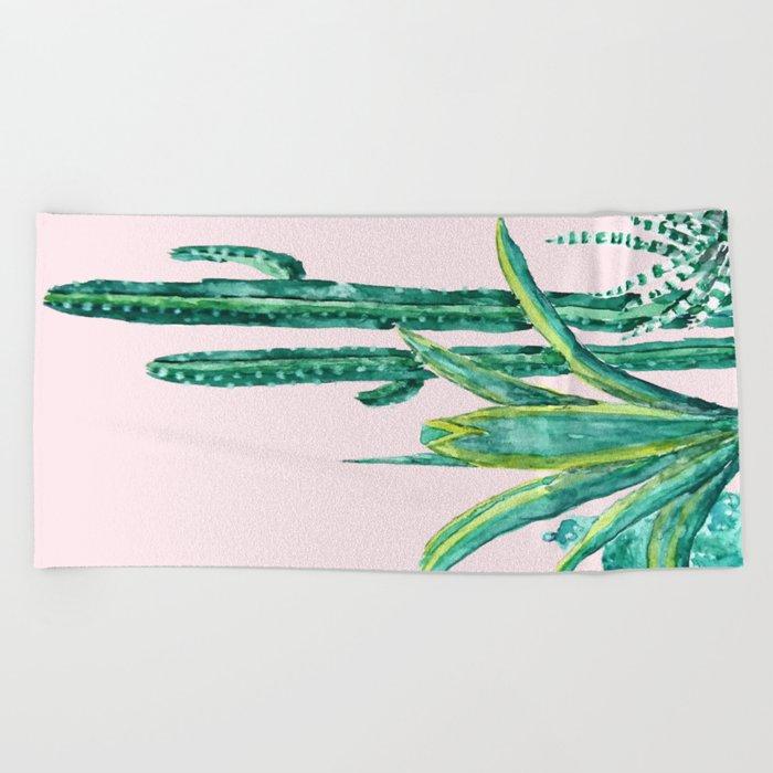 cactus jungle watercolor painting 2 Beach Towel