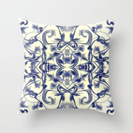 blue and white Digital pattern with circles and fractals artfully colored design for house Throw Pillow