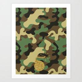 CAMO & GOLD GLITTER BOMB DIGGITY Art Print