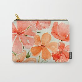 Peach & Orange Blossom Flowers - Watercolor Floral Art Carry-All Pouch