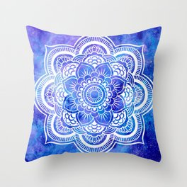 Mandala Blue Lavender Galaxy Throw Pillow